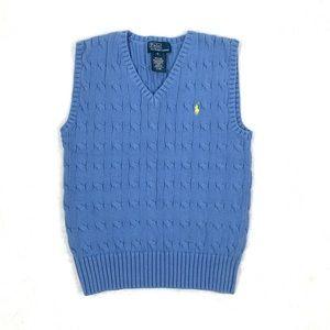 Polo Ralph Lauren, Blue Rib-knit V-neck vest SZ6